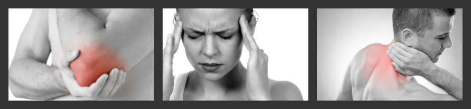 images depicting a sore elbow a headache and a sore back